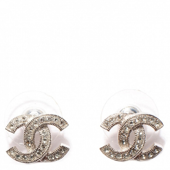 990b9b28c CHANEL Jewelry | Silver Swarovski Crystal Cc Stud Earrings | Poshmark